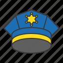 cap, cop, police cap, policeman, uniform icon