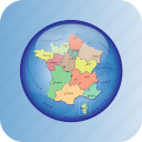europe, european, france, map, maps, political regions icon