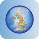europe, european, great britain, map, maps, political regions, united kingdom icon