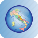 europe, european, italy, map, maps, political regions icon
