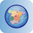 europe, european, map, maps, political regions, spain icon