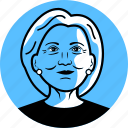 avatar, candidate, clinton, democrat, face, female, hillary clinton, image, person, politician, portrait, president, profile, senator, woman icon