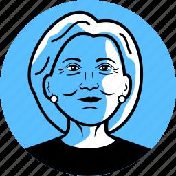 avatar, candidate, clinton, democrat, face, female, hillary clinton, image, person, politician, portrait, president, profile, senator, woman icon