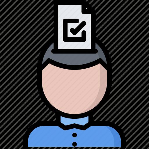 ballot, head, politics, think, vote, voter, voting icon