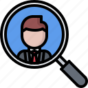glass, magnifying, politician, politics, search, vote, voting icon