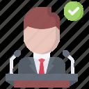candidate, politician, politics, pulpit, speech, vote, voting