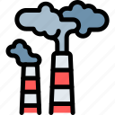 chimneys, gas, pollution, waste icon