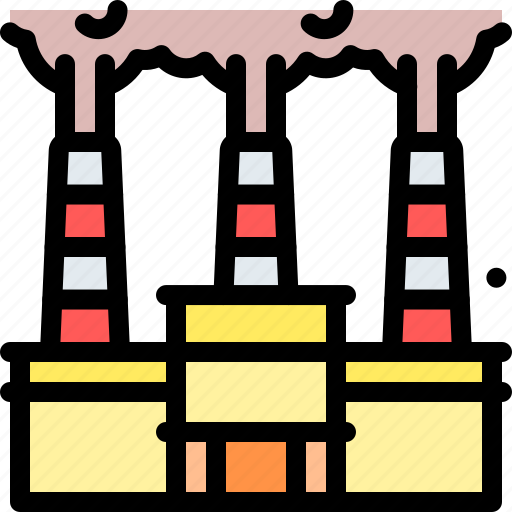 factory, gas, pollution, waste icon