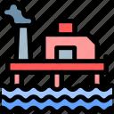 gas, oil, platform, pollution, waste icon