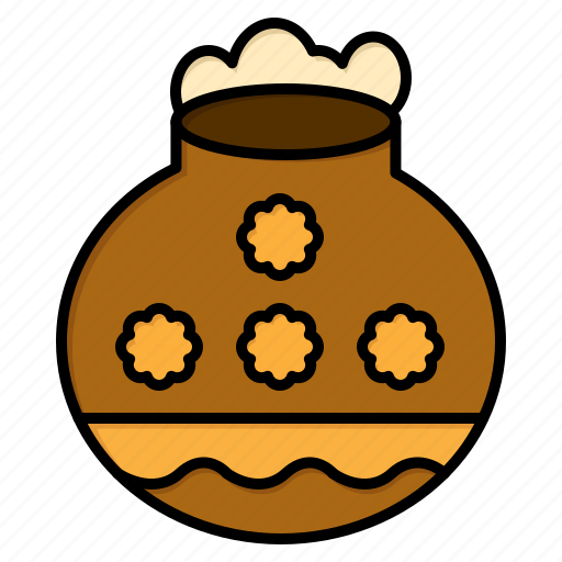 festival, pongal, pot, sand, water icon