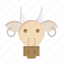 adornment, animals, bull, indian, skull icon