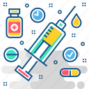injection, medicine, syringe, treatment, vaccination, vaccine icon