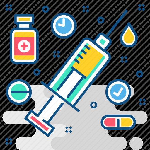 injection, medicine, syringe, treatment, vaccination, vaccine icon