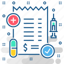 bill, clinic, healthcare, hospital, medical, medicine, pharmacy icon