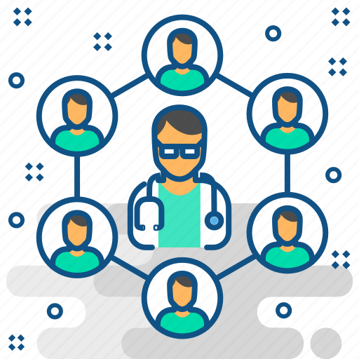 communication, connection, doctor, doctos, interaction, medical, network icon