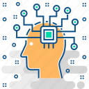 artificial, brain, chip, cpu, head, intelligence, memory icon