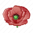 blue, poppy, bloom, flower, farm, blossom, cartoon icon