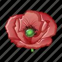 bloom, blossom, blue, cartoon, farm, flower, poppy icon