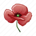 bud, cartoon, day, nature, poppy, red, summer icon