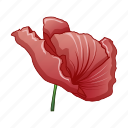 abstract, cartoon, flower, forget, poppy, red, remembrance icon