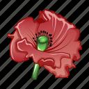 blossom, cartoon, floral, flower, garden, poppy, red icon