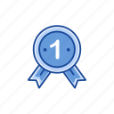 best, number one, ribbon, winner icon