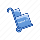 carrier, cart, dolly, overnight delivery icon