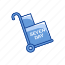 cart, dolly, push cart, seven day shipping icon