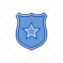 badge, safety, security, star icon