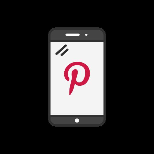 mobile, phone, pinterest logo, social media icon