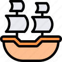 caravel, country, europe, nation, portugal icon