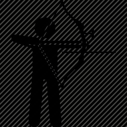 archer, archery, arrow, bow, man, objective icon