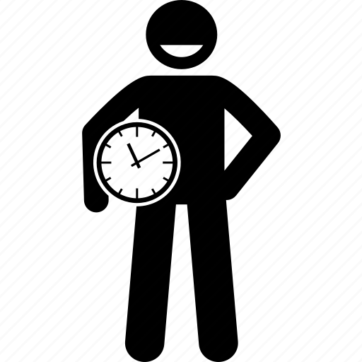 clock, holding, man, person, prompt, punctual, time icon