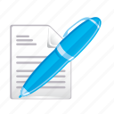 document, documents, paper, pen, text icon