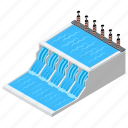 dam, hydroelectric power, hydropower plant, power plant, water dam icon