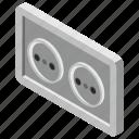 electric outlet, plug, plug socket, socket, universal socket icon
