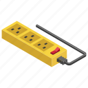 extension cord, extension lead, plug extension, power extension icon