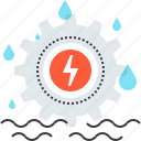 cogwheel, electricity, energy, gear, industry, power, water icon