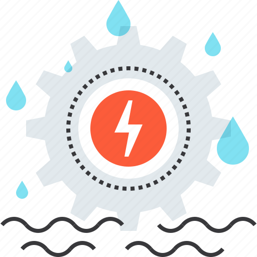 cogwheel, electricity, energy, gear, industry, power, water icon