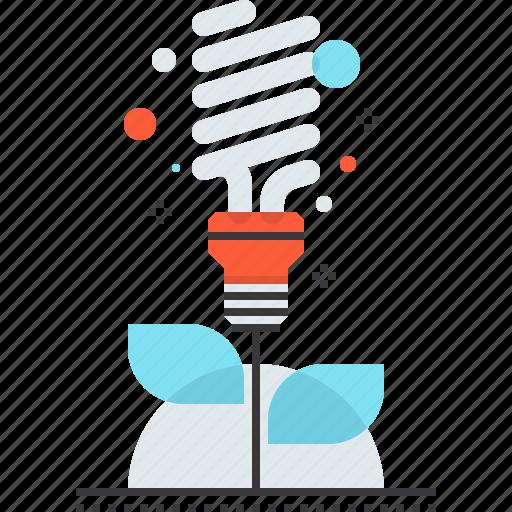 bulb, ecology, energy, green, light, plant, saving icon