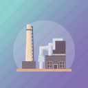 commercial building, factory, industry, manufacture, mill, power plant icon