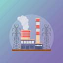 factory, grid station, mill, power station, production plant icon