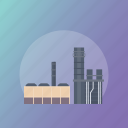 commercial building, factory, industrial building, mill, power plant