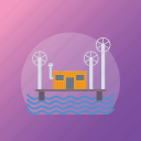 hydro energy, hydroelectric power, power generation, water production, water turbine icon