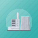 commercial building, factory, industrial building, mill, power plant icon