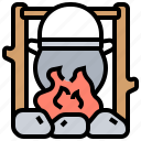 campfire, cauldron, cooking, meal, pot