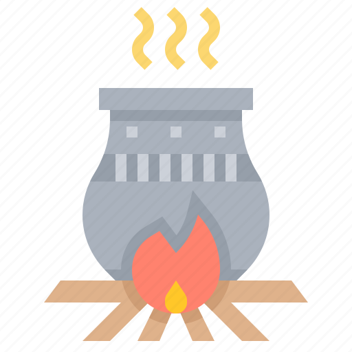 bonfire, ceramics, cooking, earthenware, pot icon