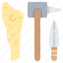 axe, dagger, knife, stone, weapon icon