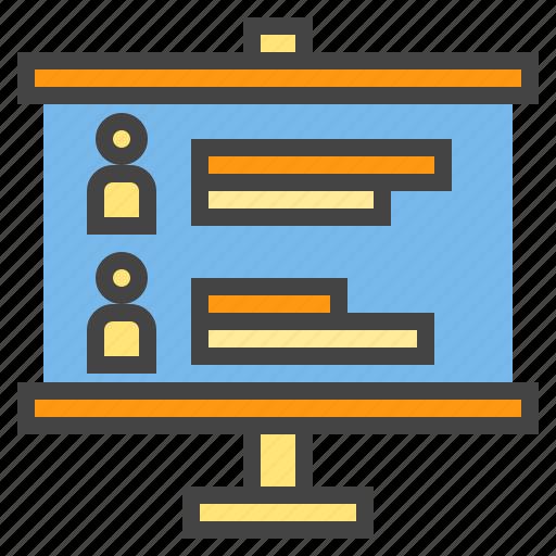 business, chart, person, presentaion, presentation, profile, statistic icon