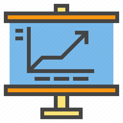 business, chart, presentaion, presentation, statistic, up icon